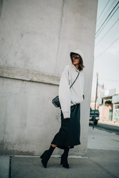 sweater,tumblr,white sweater,sweatshirt,skirt,midi skirt,black skirt,boots,high heels boots,black boots,bag,black bag,crossbody bag,hat,fall outfits,minimalist,hoodie,sock boots,top,white hoodie