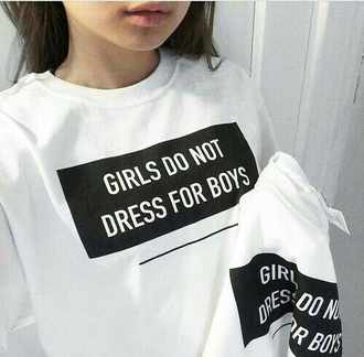sweater white black girl print quote on it black text