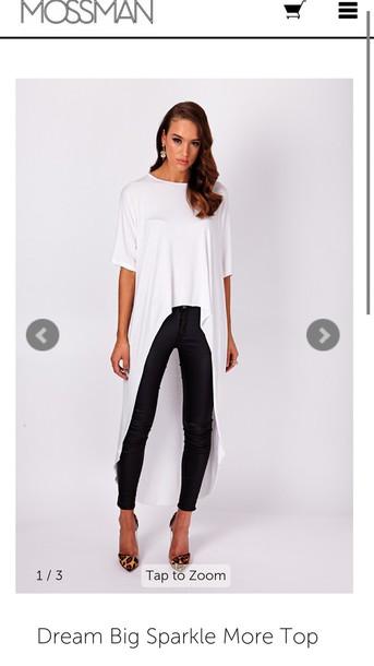 blouse grey white long dip black top