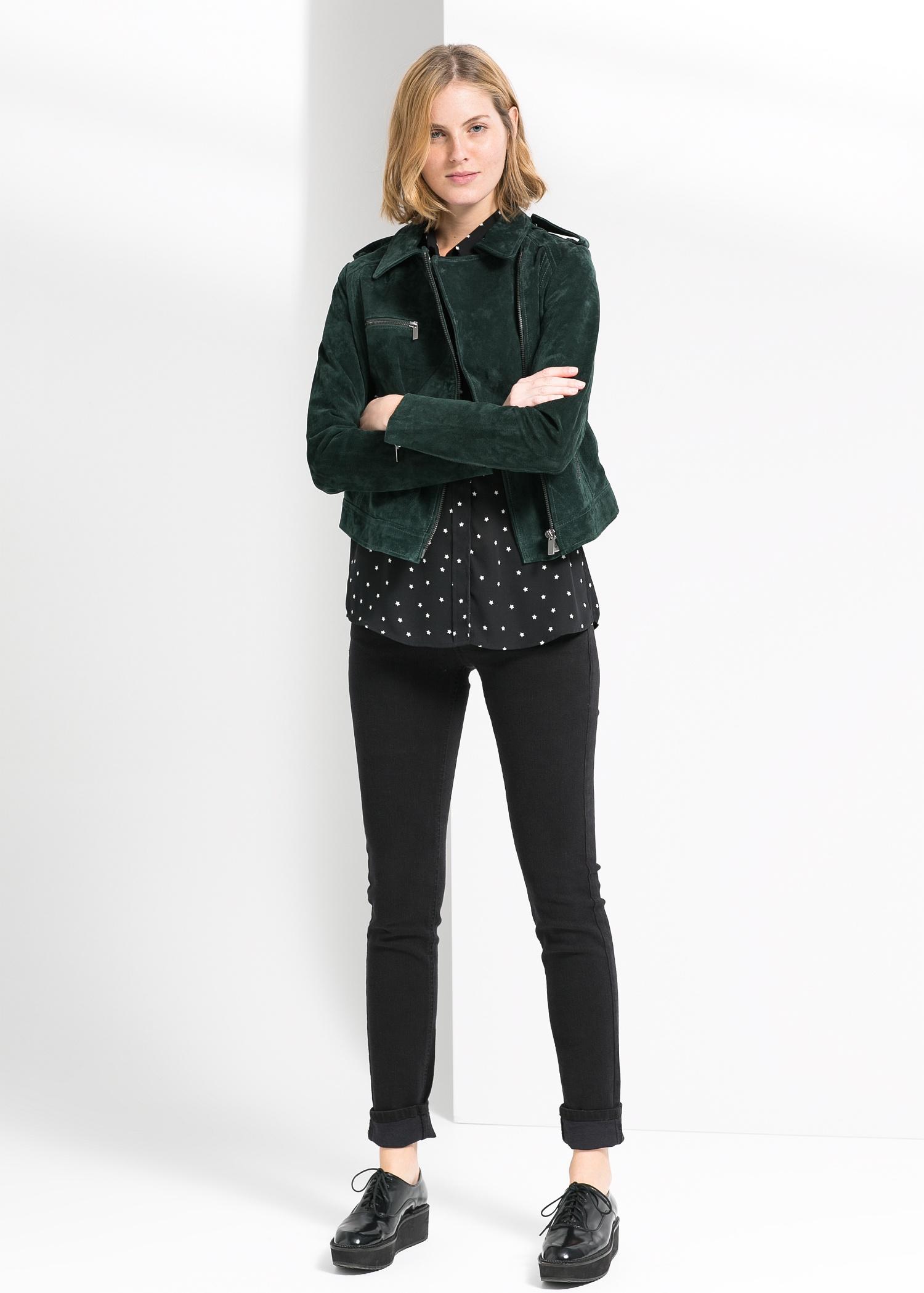 Peccary biker jacket - Jackets for Women | MANGO