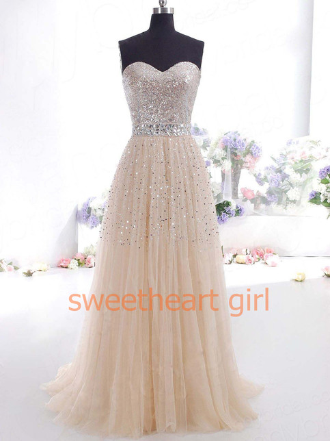 Line sweetheart tulle prom dresses with sequins