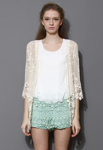 shirt delicate hollowed crochet open cardigan ivory