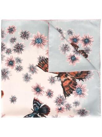 women butterfly scarf floral print silk purple pink