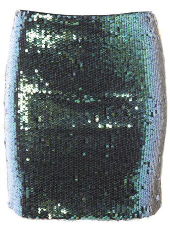 Petites green sequin mini skirt