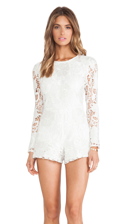 Alexis Izu Lace Romper in White Embroidered Lace from REVOLVEclothing.com