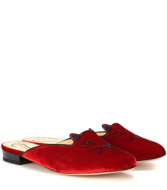 Charlotte Olympia Kitty velvet slippers in red