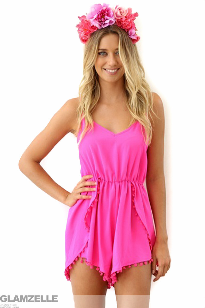 """Chic """"summer dreams"""" pom pom playsuit romper (2 colors available) – glamzelle"""