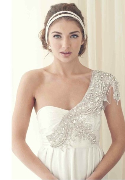 dress white rhinestone prom dress