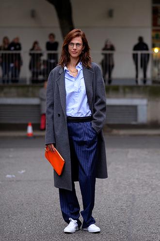 coat tumblr grey coat bag pouch shirt blue shirt streetstyle pants blue pants wide-leg pants sneakers white sneakers