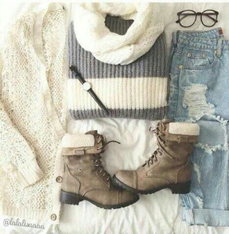 jeans sweater scarf t-shirt shirt boots shoes cardigan pants