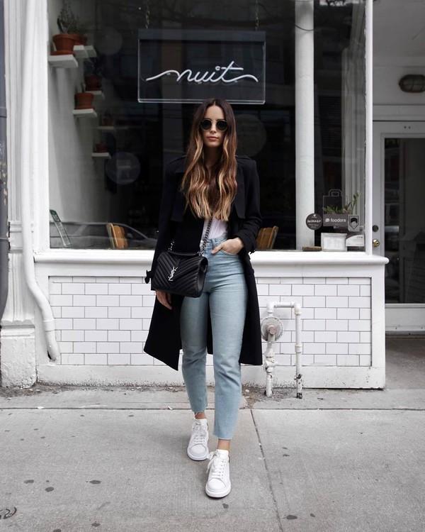 coat black coat top sneakers white sneakers bag shoes denim pants jeans sunglasses trench coat black trench coat