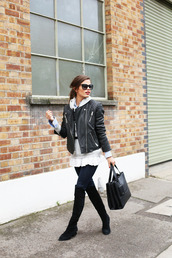seams for a desire,blogger,jeans,belt,leather jacket,thigh high boots,hoodie,winter outfits,jacket,sweater,shirt,shoes