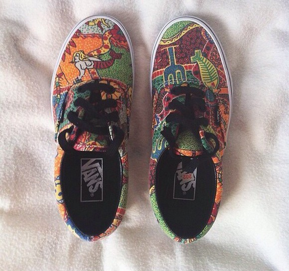 orange shoes vans printed vans red shoes patterned shoes