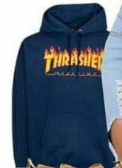 sweater,thrasher,navy,yellow,thrasher hoodie