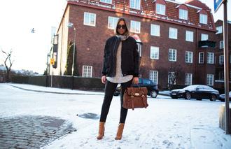 kenza blogger sunglasses black jacket satchel bag