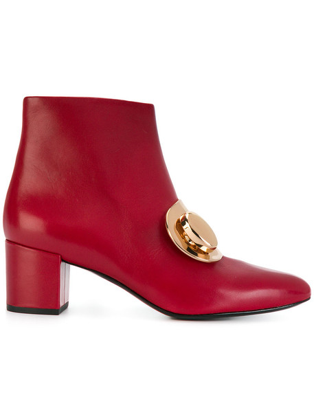 women boots buckle boots leather red shoes