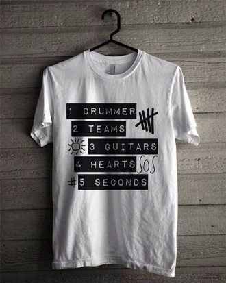 t-shirt team band t-shirt 5 seconds of summer ashton irwin michael clifford calum hood luke hemmings drummer guitars heart