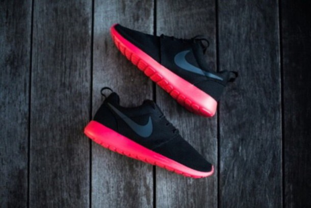 shoes nike nike running shoes nike roshe run black pink sports shoes