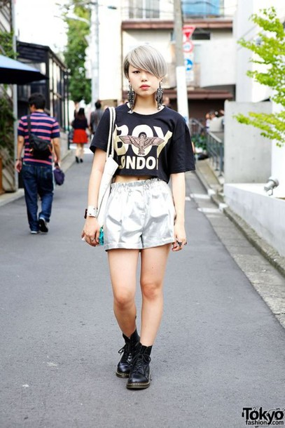 Shorts Silver Shorts Top Black Top Crop Tops Quote On It Black Crop Top Boots Drmartens