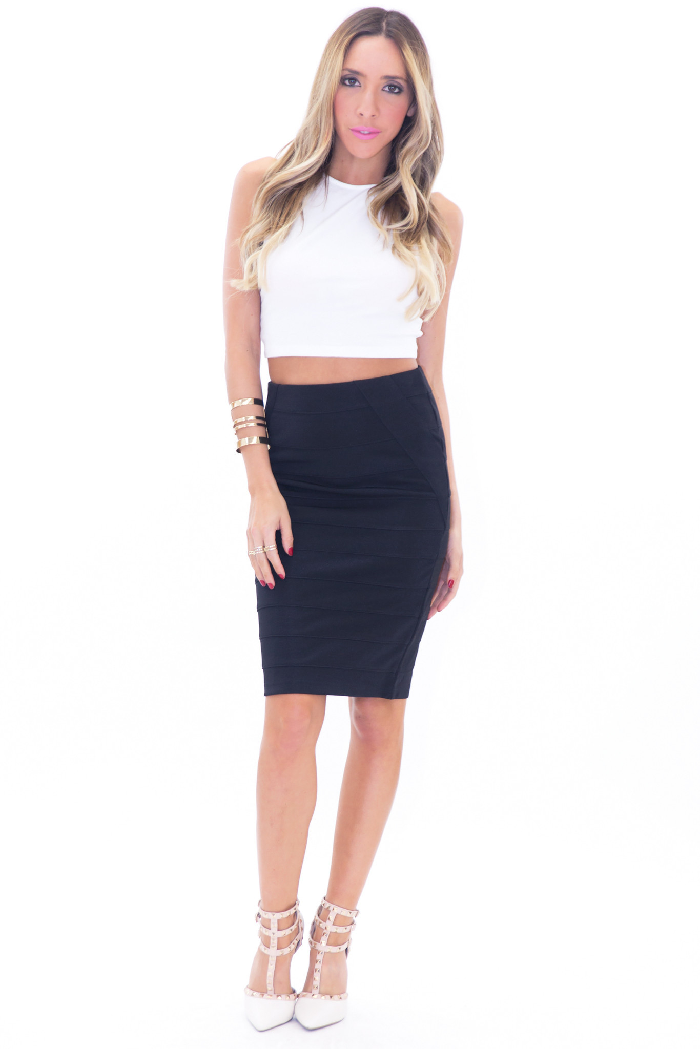 CAIN BANDAGE PENCIL SKIRT - BLACK | Haute & Rebellious