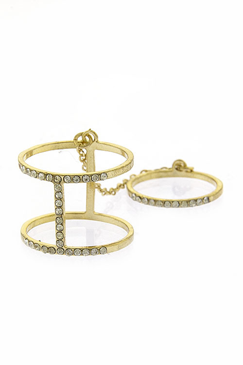 Dainty crystal bar double linked knuckle ring