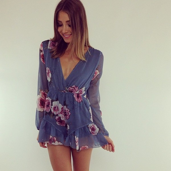 romper chiffon blue romper blue dress roses long sleeves