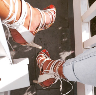 shoes white strappy heels strappy heels white heels