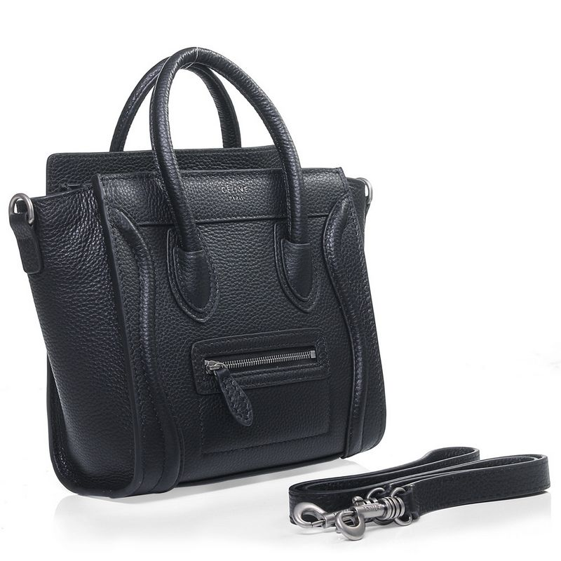 celine designer sve3  Discount Designer Celine Luggage Nano Tote Shoulder Bag in Black Pebbled  Leather