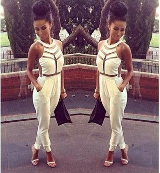 jumpsuit white white dress skins style elegant cool pretty all white
