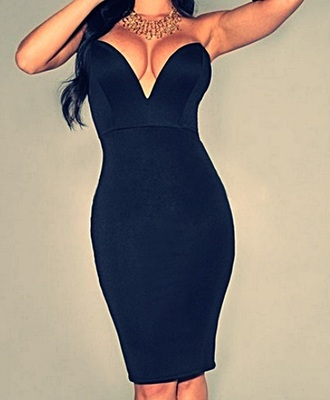 dress black dress bodycon dress deep v neck dress heart