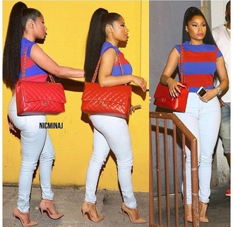 top nicki minaj shirt pretty pattern stripes style cute onika prettygirls red blue classy fashion nicki minaj style fall outfits summer outfits summer top curvy queen girly chanel chanel bag striped sweater shor sleeve