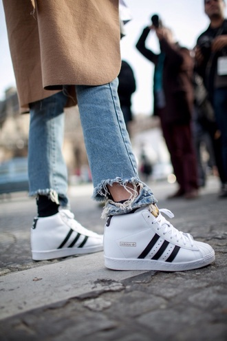 shoes adidas superstar adidas superstars high top sneakers white sneakers frayed denim ripped jeans cropped jeans camel coat frayed jeans