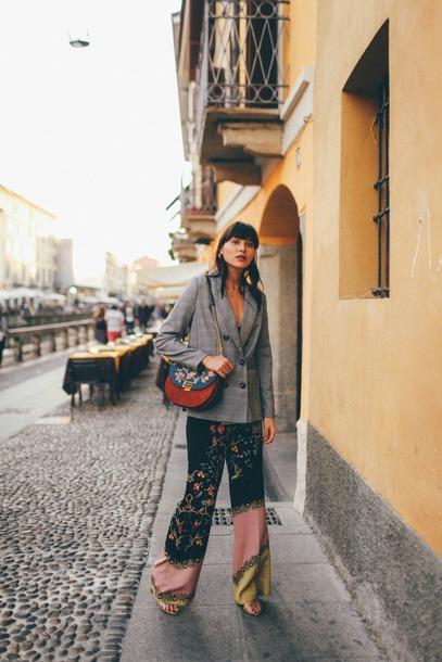 natalie off duty blogger pants bag jacket shoes grey jacket shoulder bag fall outfits