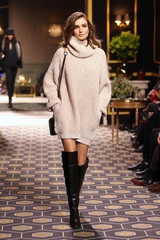 sweater nude beige oversized turtleneck sweater dress