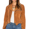 Ganni suede biker jacket in cognac from revolve.com