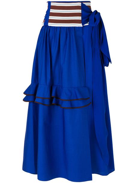 MARNI skirt women cotton blue silk