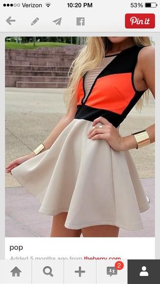 tan dress small orange dress bright neon