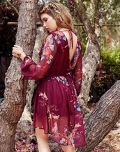 dress,floral,taylor ashley,band of gypsies,open back,fall dress,burgundy,mini dress,floral dress,boho dress,boho chic,boho,fall color,fall outfits