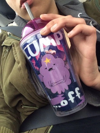 sunglasses cup tumbler lump off adventure time lumpy space princess purple hipster pastel pastel goth anorak coat jacket mug