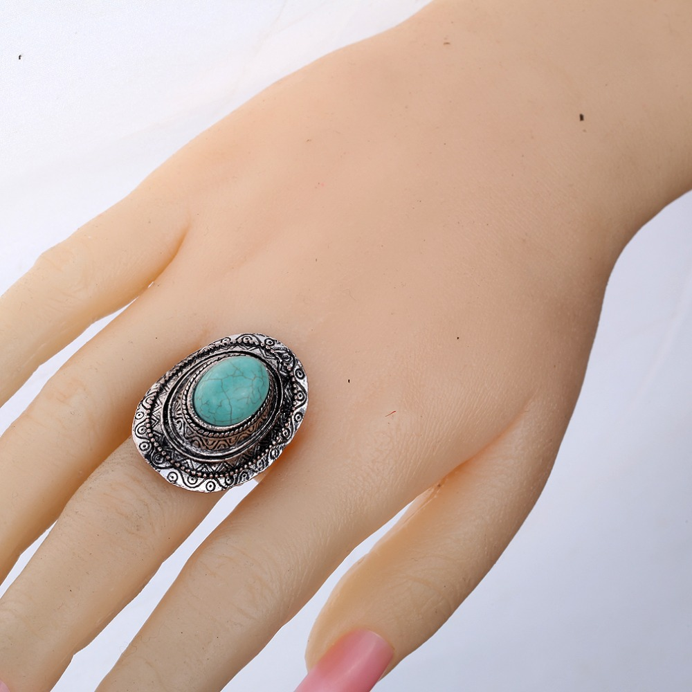 New Design Cap Shape Tibet Silver Turquoise Adjustable Finger Ring-in Rings from Jewelry on Aliexpress.com