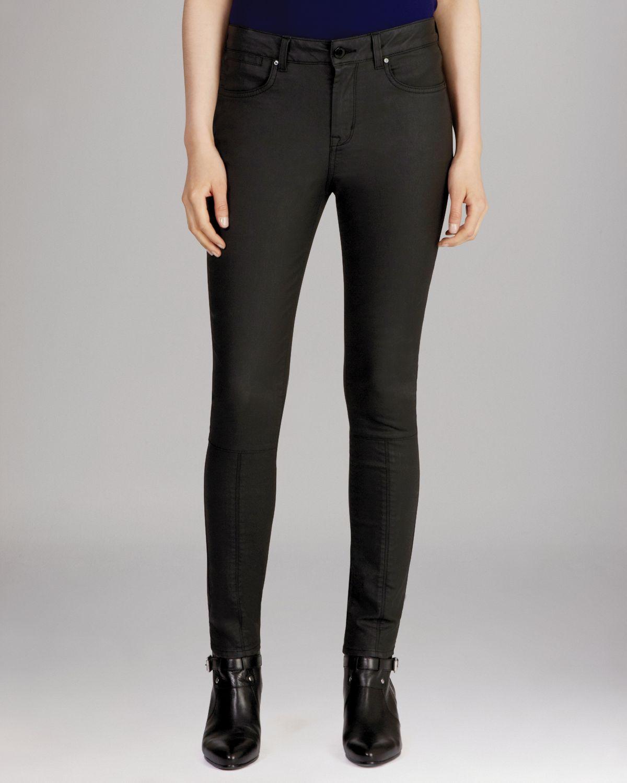 KAREN MILLEN Coated Black Jeans | Bloomingdale's