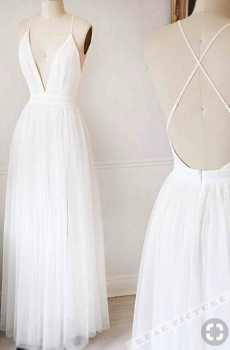 dress white. dress. long. low fronts and back
