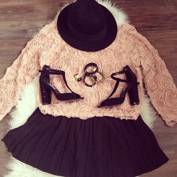 black hat bracelets roses black heels ring black mini skirt shirt skirt crop tops floral girly shoes pink jewels black  high heels