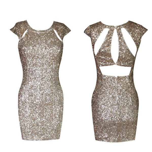 Fashion gold sequined dress back cut out bodycon. party dress · fe clothing · online store powered by storenvy