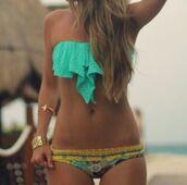 swimwear,bikini,jewels,dress,bandeau bikini,bathing suit top,bandeau top,blue,colorful,ruffle,floral,flutter bikini,fluttertop,green,mint,teal,paisley,cute,swimmers,aqua,frill,strapless,floral yellow blue,teal swimwear,top,bikini bottoms,bottoms
