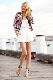 tuula,jacket,shoes,jewels,tank top,shorts,small jacket,pattern