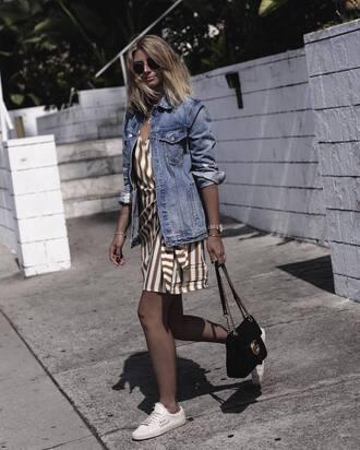 dress tumblr mini dress wrap dress stripes striped dress sneakers white sneakers jacket denim denim jacket bag black bag sunglasses