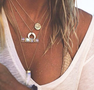 swimwear bikini top gold bikini top boho layered necklaces salty soul beach style jewels jewelry necklace layered quartz crystal quartz boho chic boho jewelry bohemian