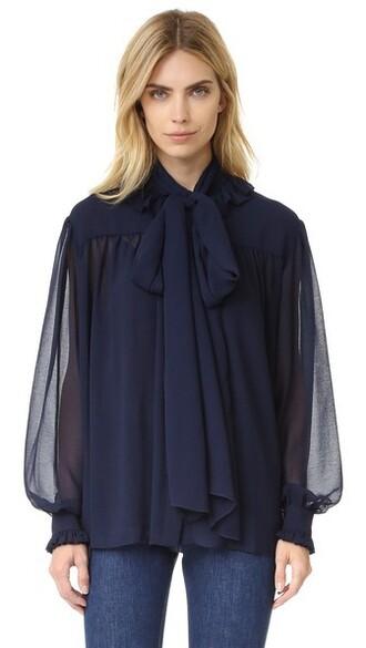 blouse chiffon blouse chiffon dark ruffle navy top