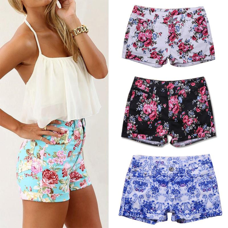 fanshou envío gratis 2014 de primavera y verano las mujeres pantalones cortos de alta cintura floral de en de en Aliexpress.com